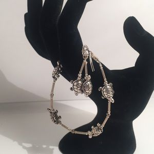 Turtle Bracelet and Earrings Set Silver Color